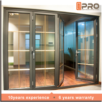 2015 Hot Sell China Folding bifold Door Folding Patio Doors Prices With Double Tempered Glass