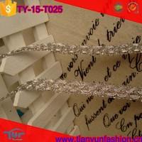 applique braid wave trims polyester abstract pattern metallic silver trim gimp