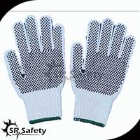 SRSafety cotton dot glove,bleached white PVC dotted cotton hand gloves machine
