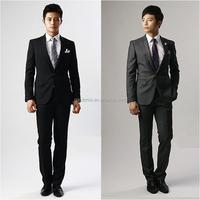 Latest Design Black / Silver Wedding Dress for Groom Wholesale Men's Coat Pant Designs Wedding Suit(Coat+Pants)