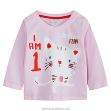 new fashion plain baby cat printing pink long sleeve t shirt for girls
