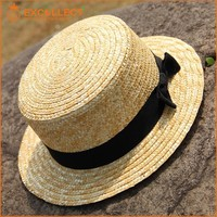 Lovely Flat Top Ladys Natural Straw Hat