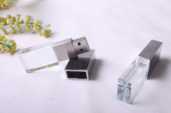 Engraved logo inside with red blue green light for Crystal USB flash drive
