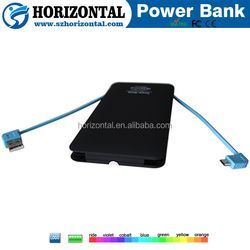 5000mah smart and easy tool credit card super slim powerbank with cable