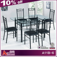 A11B-6 Round glass top dining table and 6 chairs with cheap price