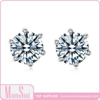 Moonsoul wholesale White Gold Plated Princess Cut Sparkling Wihte Cubic Zirconia Stud Earrings 15E10097