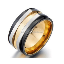 Stainless Steel Mens Promise Ring Wedding Band Ring Gold Silver Black Tri-tone Comfort Fit 11mm