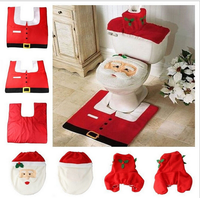 Santa Claus Christmas Decorations Toilet Seat Cover Set