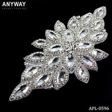 Bling bling hotsale gold rhinestone applique for bridal dress