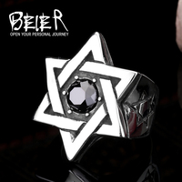 Beier star of david ring stainless steel Ring Super High Quality Fashion hot sale gemstone jewelry BR8-187 US size