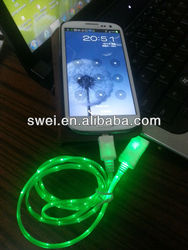 Illuminated Micro USB Charger Cord Sync Cable With Visible EL Glow Light For Smartphones Tablets