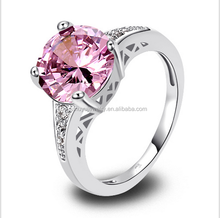 Wholesale Charm Fancy Shinning Round Cut Pink & White Sapphire 925 Silver Ring
