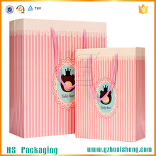 Fancy Color stripe printed custom shopping paper bags wholesale
