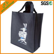 Black cute cartoon non woven shopping tote bag with logo(PRA-851)