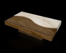 Wood and travertine natural stone combine coffee table,glass top and fancy design for living room