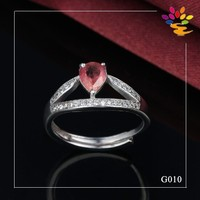 Unique Design Gemstone Silver 925 Ring,Rubellite Platinum Jewelry Ring,Fashionable Diamond 925 Silver Ring