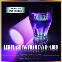 LED foam koozie, can hold beer, drinking