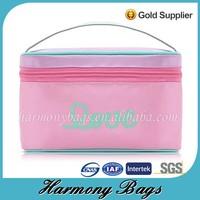 2015 Hot Fashion Girls pink satin custom cosmetic bag