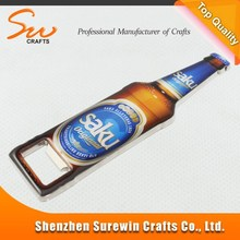 metal beer shape bottle opener with make you own sticker logo for promotional activity