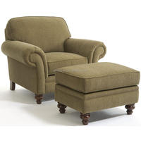 Larissa Traditional Stationary Lounge Chair and Ottoman with Turned Wood Legs