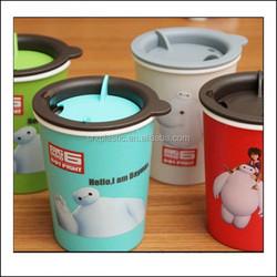 promotional cartoon Plastic juice glass plastic coffee cup,custom coffee cup plastic double walls thermos coffee mug cup
