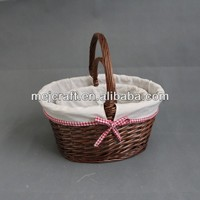 Lovely small portable fruit picking basket,high quality top design wicker basket