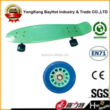 27 inch plastic skateboard with colorful wheels
