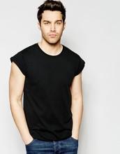 China supplier crew neck Rolled sleeves black men plain t shirt