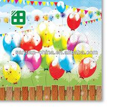 Desechable del diseño del globo de cumpleaños del papel del partido servilleta fuentes del partido