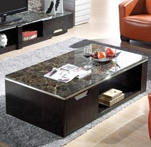 Modern Wood Base Elegant Black Marble Top Coffee Table Marble Center Table