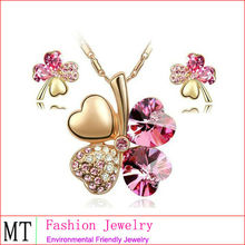Hot Selling 4 Leaves Crystal Clover Set Dubai Gold Jewelry Set