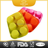 FDA 1pc/lot wholesale Six cells Cake cup silicone cupcake molds for sale random colors YHCM-002