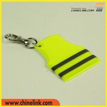 Nice Yellow Reflective Vest Shape Plastic Custom Keychain