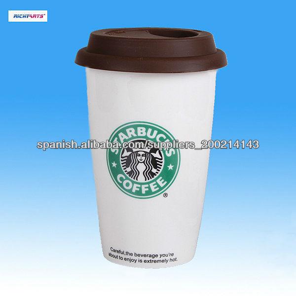 Starbucks taza de café de cerámica con tapa de silicona