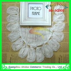 Neckline applique embellishment necklace round flower design white tulle lace collar