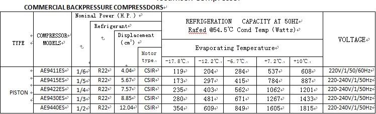 Tecumseh Refrigerator Compressor TFH4540F
