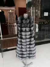 European Style Ladies Long Silver Fox Fur Vest / Real Fur Vest