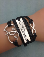 infinity one Direction O D 1 D double heart charm bracelet black PU leather wax cord bangle bracelet