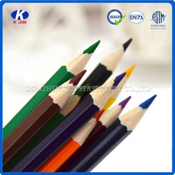wooden promotional personalized sexangle color pencils for office