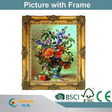 top quality carved wood frame with oil paint picture and photo