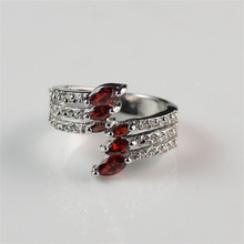 Charming! Silver Plated Red Zircon Inlay Latest Ring Design