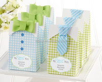 """Baby shower favor boxes """"My Little Man"""" Candy Bags Baby Birthday Gift bcan be Personalized names and date"""
