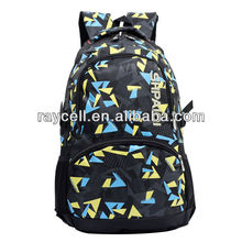 2014 factory direct selling popular trendy laptop backpack with colorful printing geometric figure