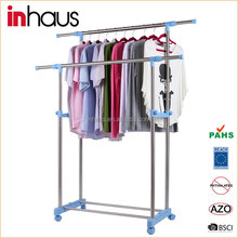 2015 Double Pole Telescopic Clothes Stand Stainless Steel Heavy Duty Garment Rack With Wheels