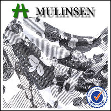 Mulinsen Cheap Knitting Polyseter FDY 4 Way Stretch Black White Flower Printed Foil and Sequin Silver Shimmer Fabric