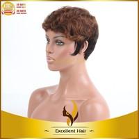 comfort cap short 30/1b# highlight brazilian virgin human hair machine made weft wig