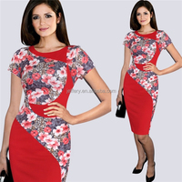 Elegant new dress style combination flower printed dress with real pics H049