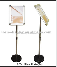 Menu Dispaly Steel Base with Chromium Plating Round Corner Poster Display Cases with Ordinary A4 Size