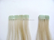 Blonde virgin eurasian hair double sided tape hair extensions with gaps
