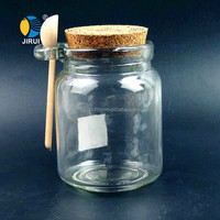 Wholesale round glass spice jar with wooden lid and spoon
